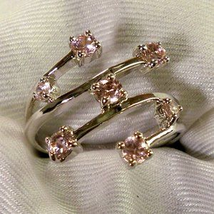 Suzanne Somers Pink CZ Silver Ring NEW